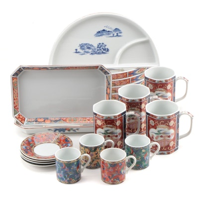 Japanese Imari Style Sushi Plates and Other Tableware, Late 20th Century