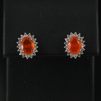 Sterling Silver Fire Opal and Topaz Halo Stud Earrings