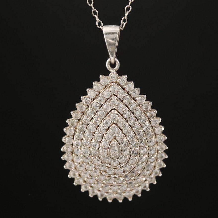 Sterling Silver Cubic Zirconia Teardrop Cluster Pendant Necklace