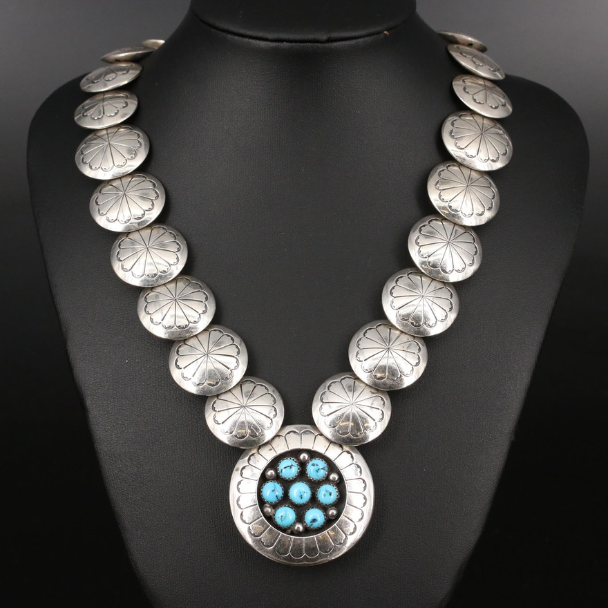 Western Sterling Silver Turquoise Shadowbox and Concho Bead Necklace