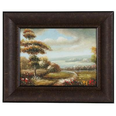 Hillside Landscape Oil Painting, 21st Century