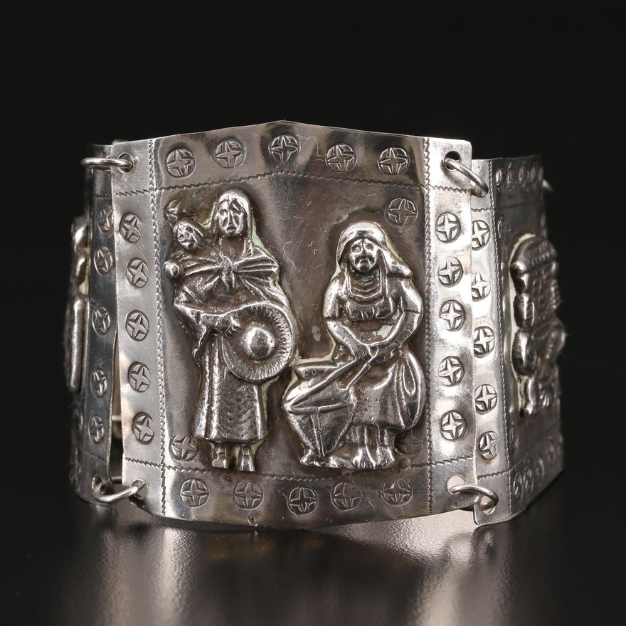 Pre-Columbian Inspired 900 Silver Panel Bracelet