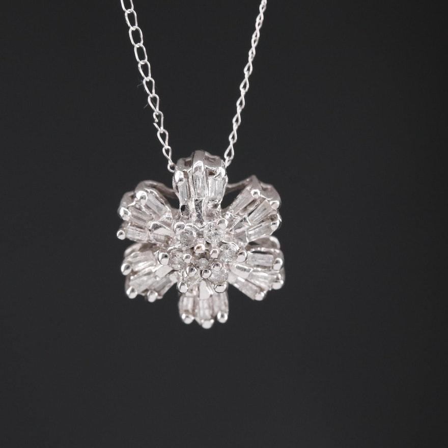 14K Diamond Pendant on 10K Chain Necklace