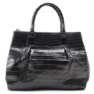 Nancy Gonzalez Dyed Black Crocodile Skin Handbag