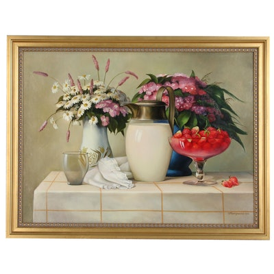 "Still Life Oil Painting ""Chamomiles"", 1997"