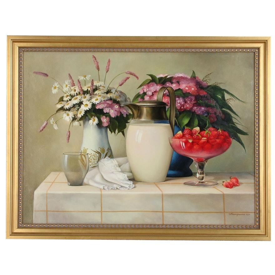 "Still Life Oil Painting ""Chamomiles"", 1997"