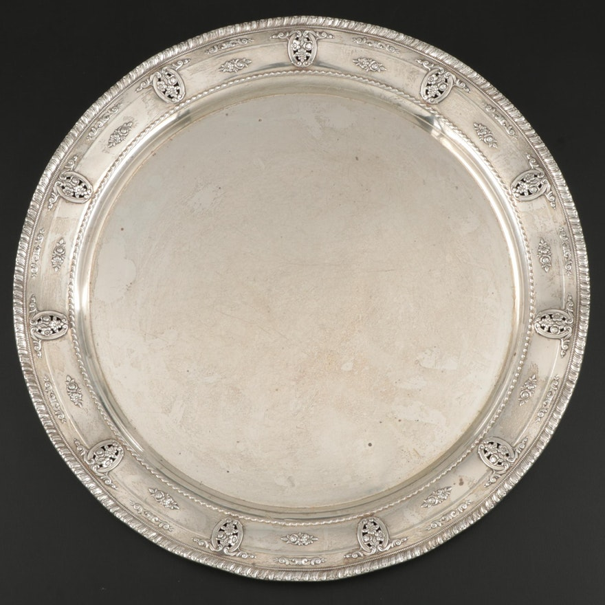 "Wallace ""Rose Point"" Sterling Silver Serving Tray, Mid to Late 20th Century"