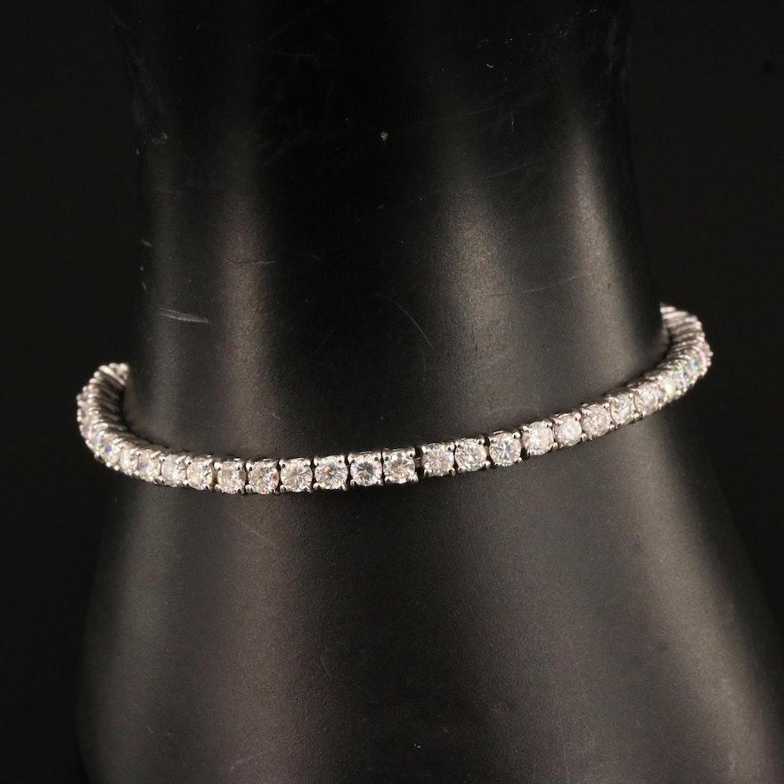 Sterling Silver Moissanite Line Bracelet