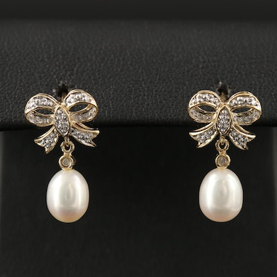 14K Pearl Drop Earrings with Diamond Accents