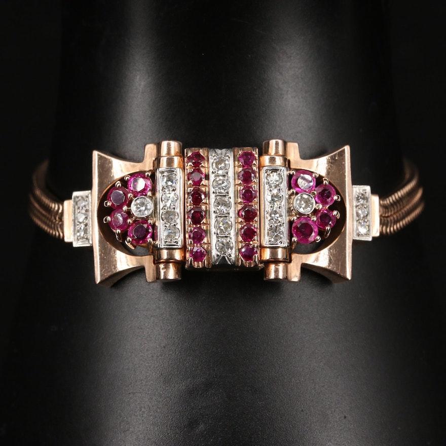 14K Rose Gold Bulova Diamond and Ruby Stem Wind Wristwatch