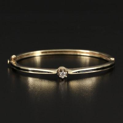 Vintage 14K 0.15 CT Diamond Solitaire Bangle