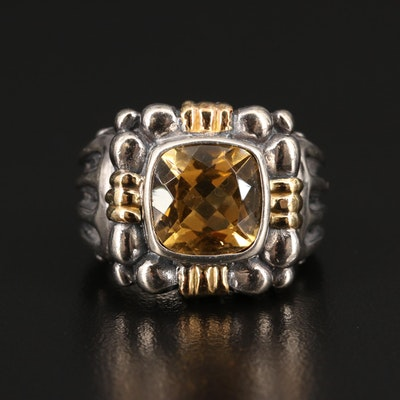 Sterling Silver Citrine Ring with 18K Accents