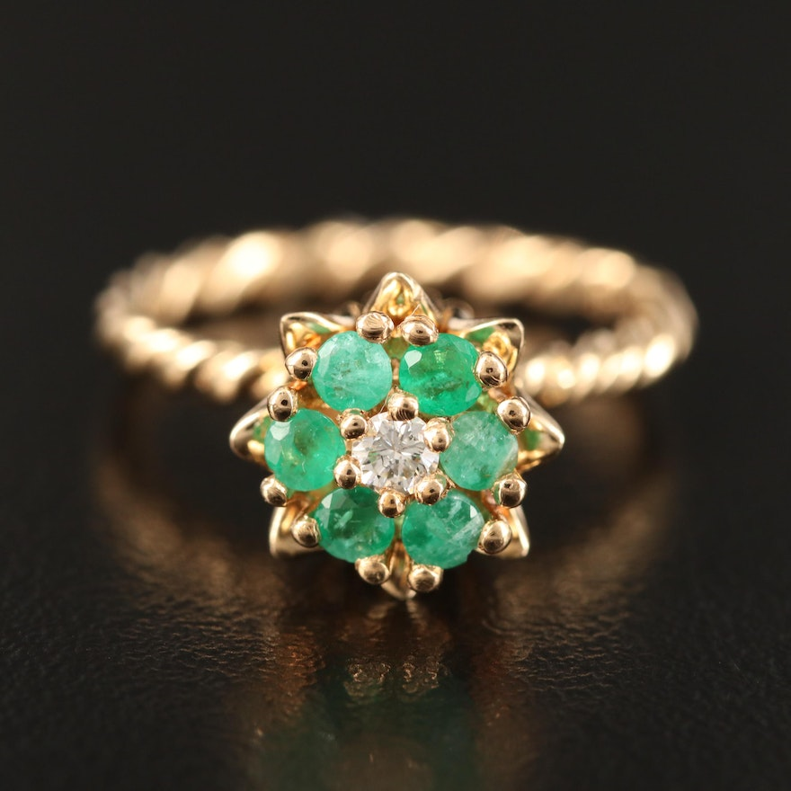 14K Diamond and Emerald Ring with Twist Shank
