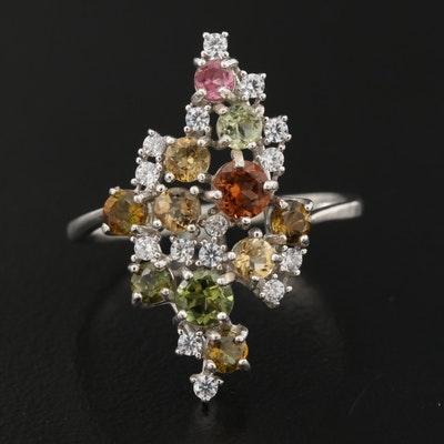 Sterling Tourmaline and Cubic Zirconia Cluster Ring