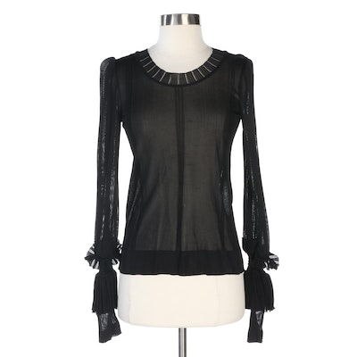 Chanel Sheer Black Knit Long-Sleeve Top with Tiered Cuff Ruffles