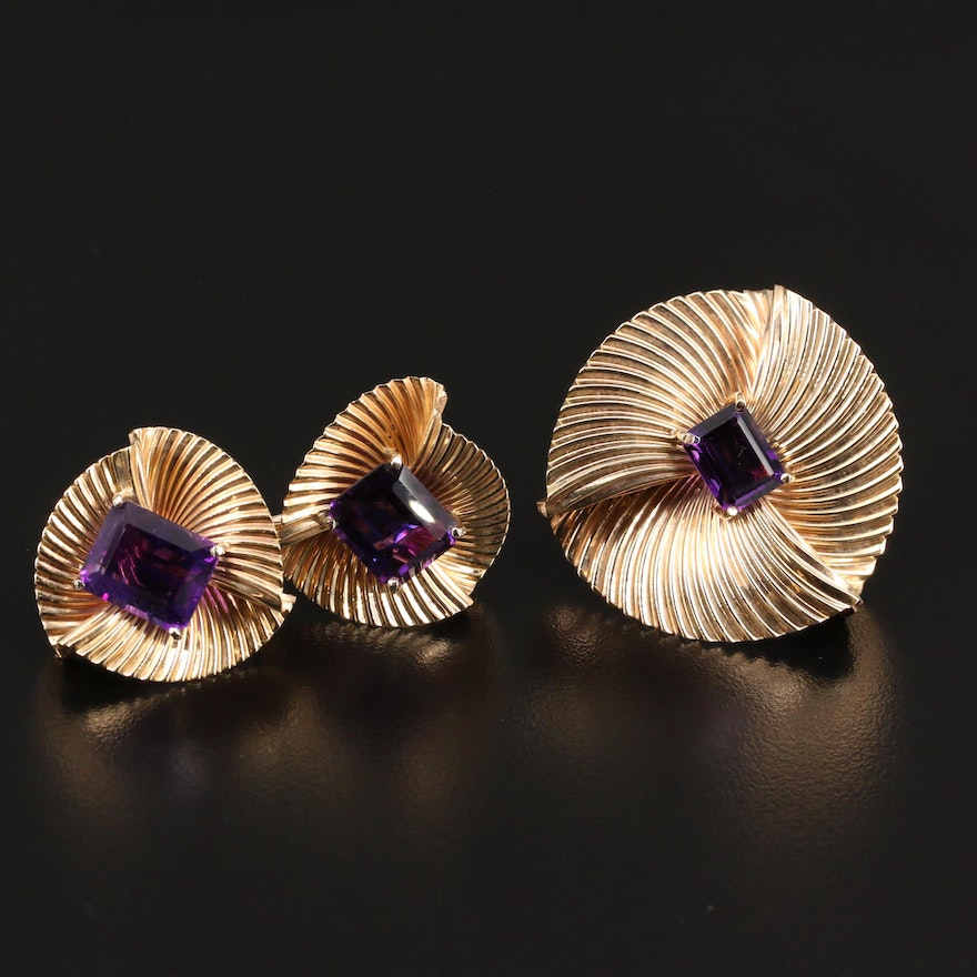 14K Amethyst Rippled Folded Brooch and Button Earrings