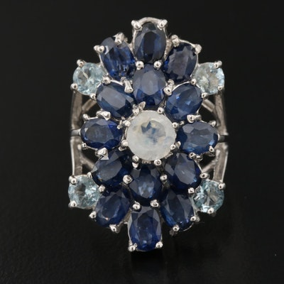 Sterling Cluster Ring with Sapphire, Aquamarine and Feldspar
