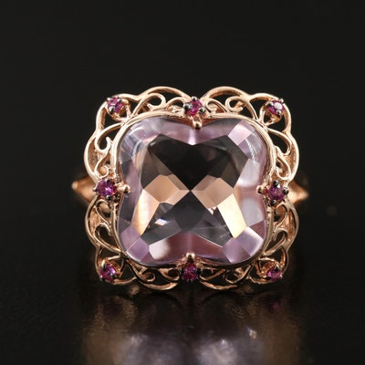 14K Rose Gold Buff Top Amethyst and Ruby Ring with Scalloped Edge