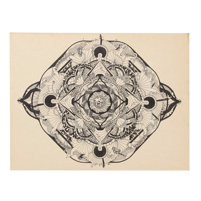 Art Nouveau Style Abstract Ink Drawing, 20th Century