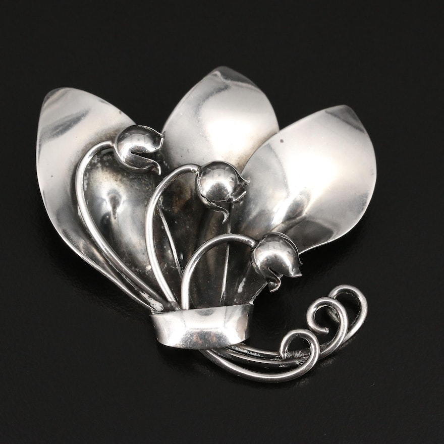 Danish Folmere Sterling Lily of the Valley Brooch