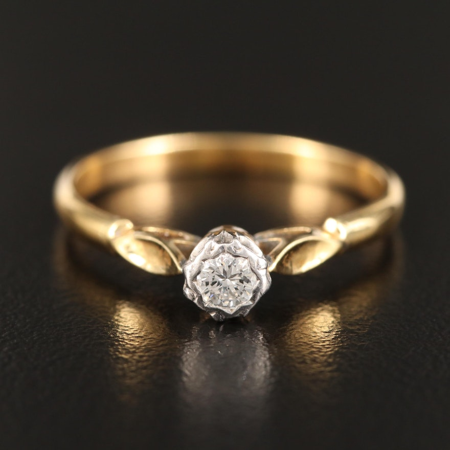 Vintage 18K Diamond Solitaire Ring