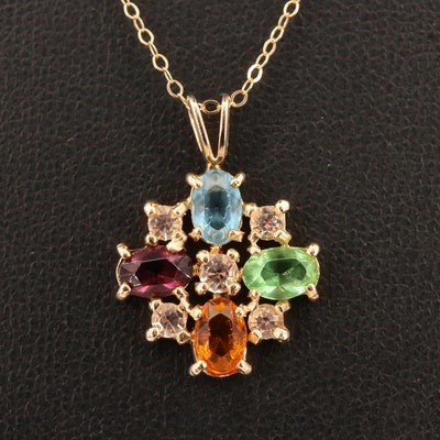 14K Glass Cluster Pendant Necklace