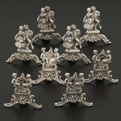 German 800 Silver Dancing Couples Menu or Place Card Holders