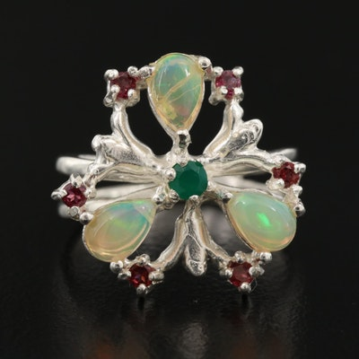 Sterling Silver Opal, Rhodolite Garnet and Chalcedony Butterfly Ring