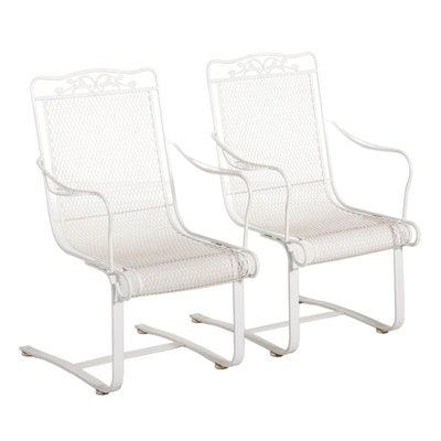 Metal Outdoor Rocking Chairs with Floral Motif
