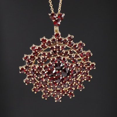 900 Silver Garnet Cluster Converter Brooch on Sterling Cable Chain