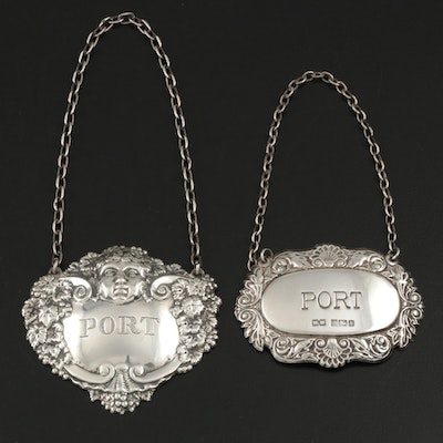 "Turner & Simpson and Whitehill Silver & Plate Co. Silver ""Port"" Decanter Labels"