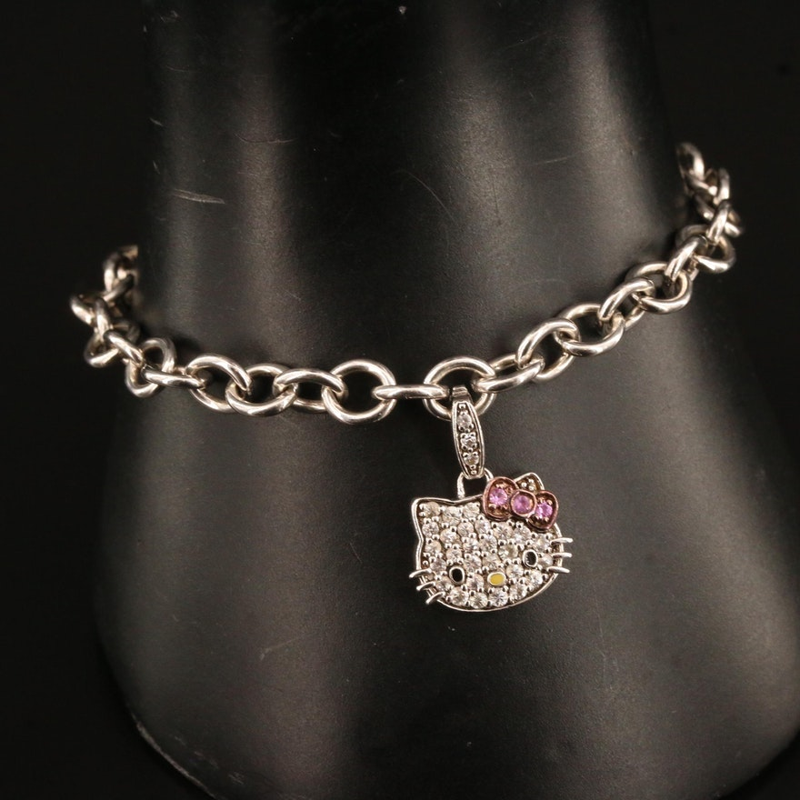 Hello Kitty Sterling Silver Sapphire and Enamel  Pavé Charm Bracelet