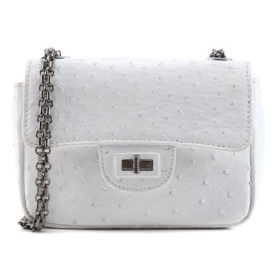 Eileen Kramer White Ostrich Skin Turn Lock Shoulder Bag