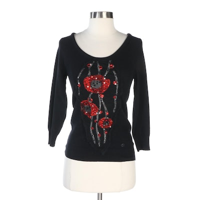 Chanel Black Cashmere Sweater with Embellished Silk Appliqué