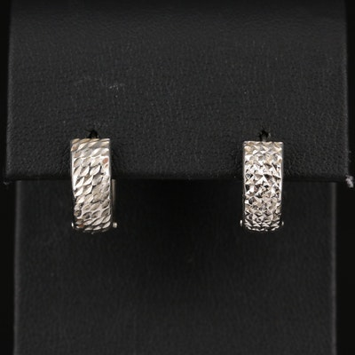 14K Diamond Cut Huggie Earrings
