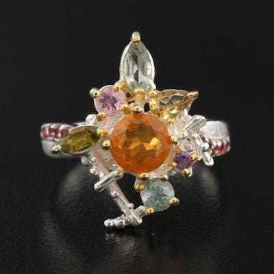 Sterling Silver Opal, Tourmaline and Rhodolite Garnet Cluster Ring