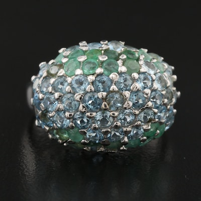 Sterling Silver Aquamarine and Emerald Cluster Dome Ring