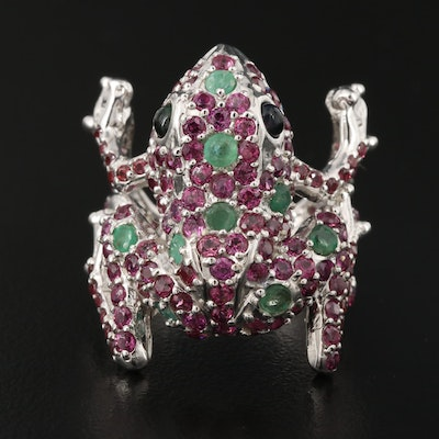 Sterling Emerald, Rhodolite Garnet and Opal Frog Ring
