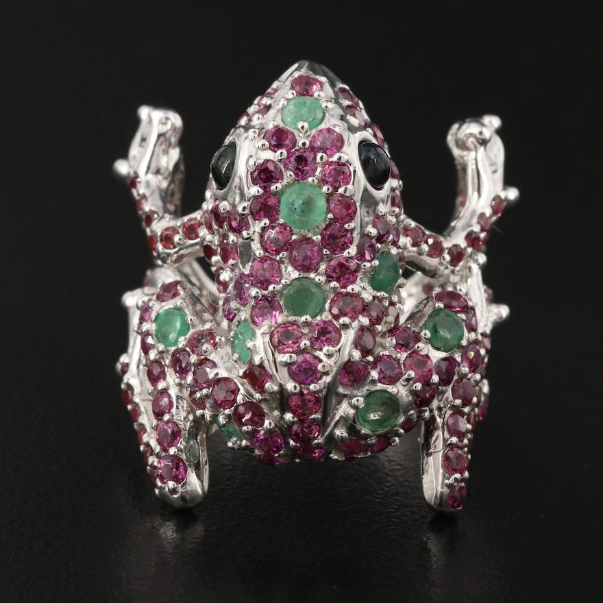 Sterling Emerald, Rhodolite Garnet and Opal Frog Ring