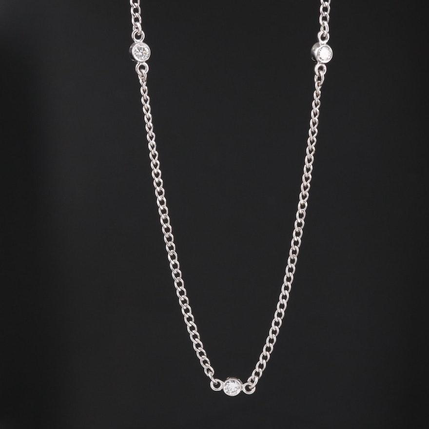 10K Diamond Station Necklace