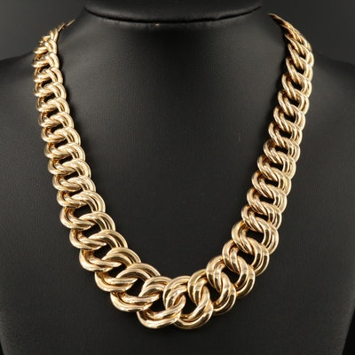 14K Graduated Curb Chain Necklace
