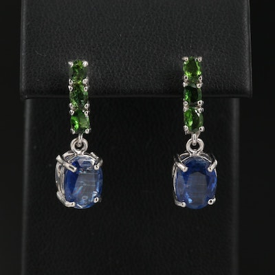 Sterling Silver Kyanite and Diopside Drop Earrings