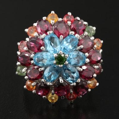 Sterling Silver Topaz, Rhodolite Garnet and Sapphire Floral Cluster Ring