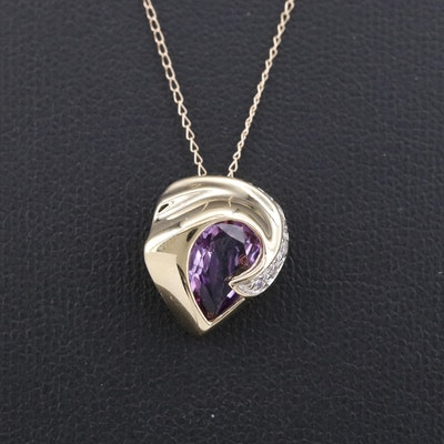 14K Amethyst and Cubic Zirconia Necklace