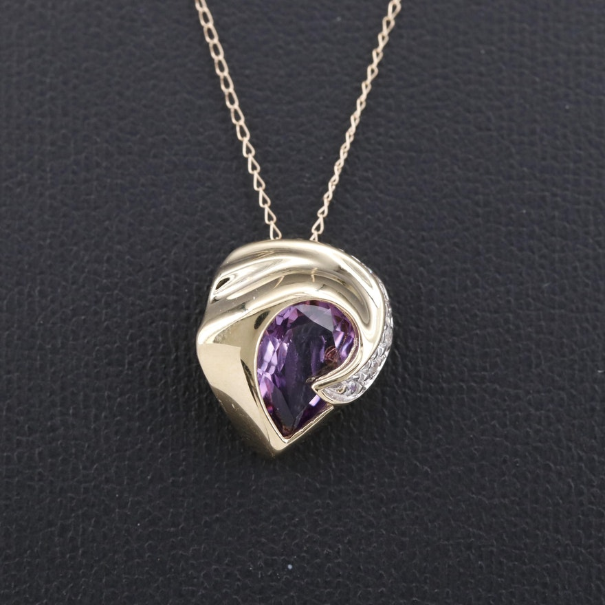 14K Amethyst and Cubic Zirconia Necklace