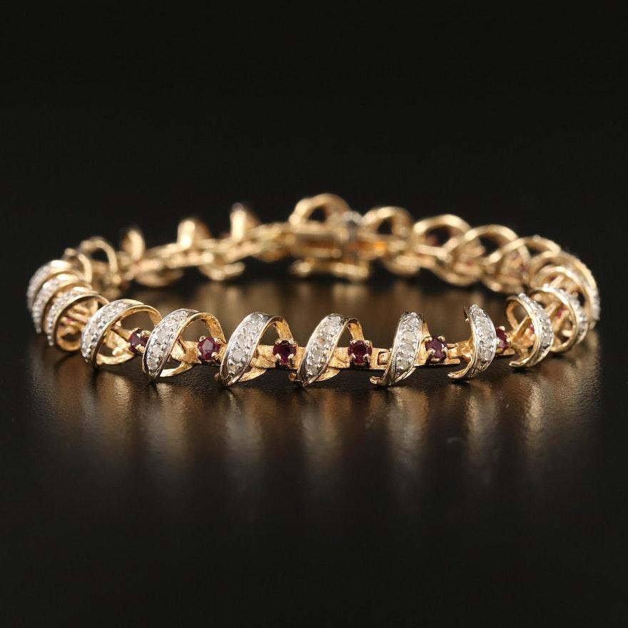 14K Spinel and 1.50 CTW Diamond Coil Motif Bracelet