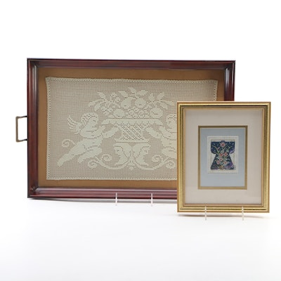Hand-Crocheted Mounted Tray Wall Panel, circa 1919 and Other Framed Cross-Stitch