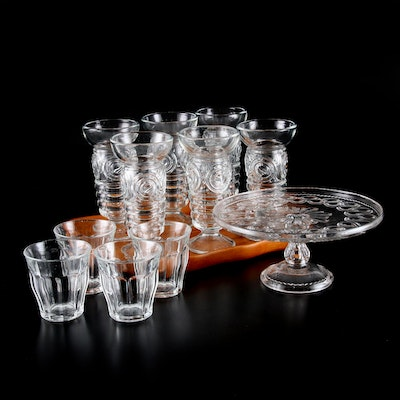 "Duralex ""Picardie"" and Other Glass Tumblers, Cake Plate and Wood Tray"