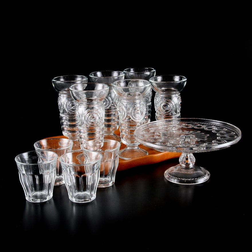 """Duralex """"Picardie"""" and Other Glass Tumblers, Cake Plate and Wood Tray"""