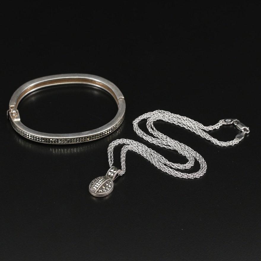 Judith Jack Sterling Silver Marcasite Bracelet and Necklace